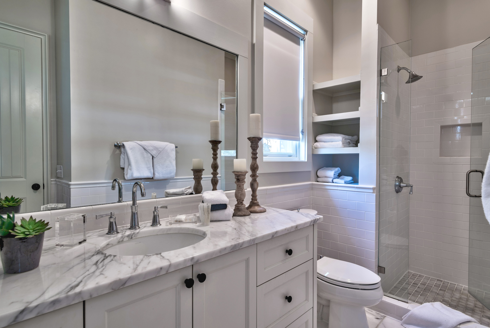 King guest room ensuite bath with a beautiful, custom, stand-up shower