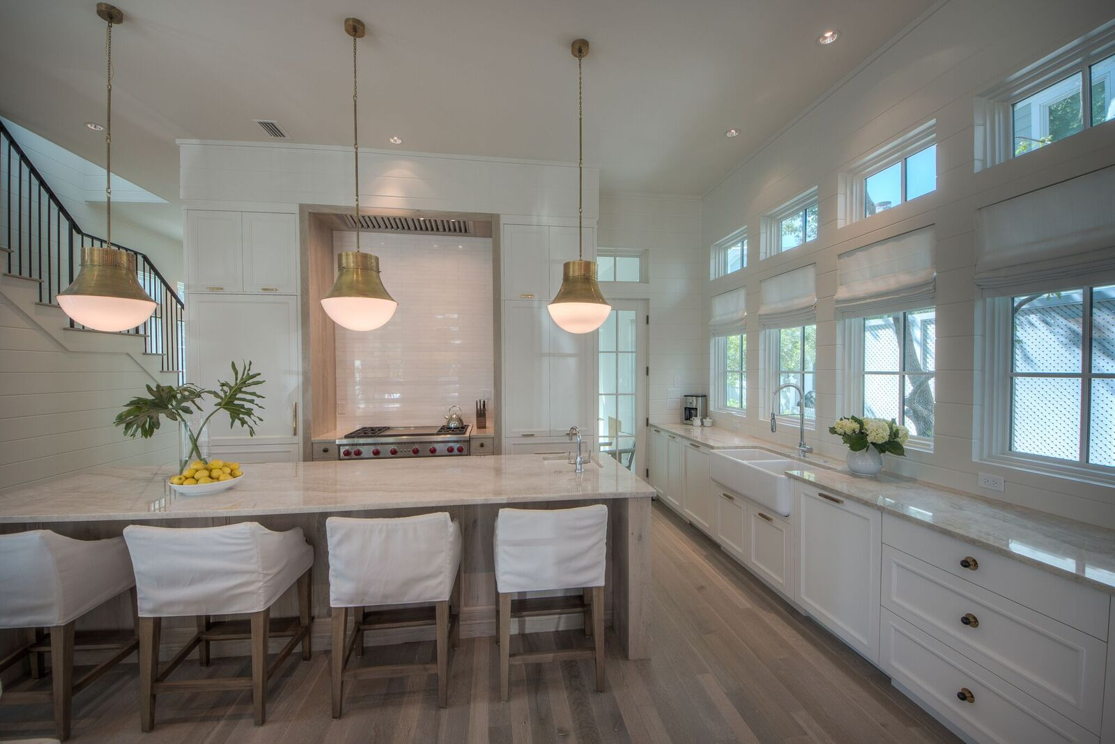 Large chef's kitchen with 2 dishwashers, 6-burner gas range and overall dining for 12 between the table and counter