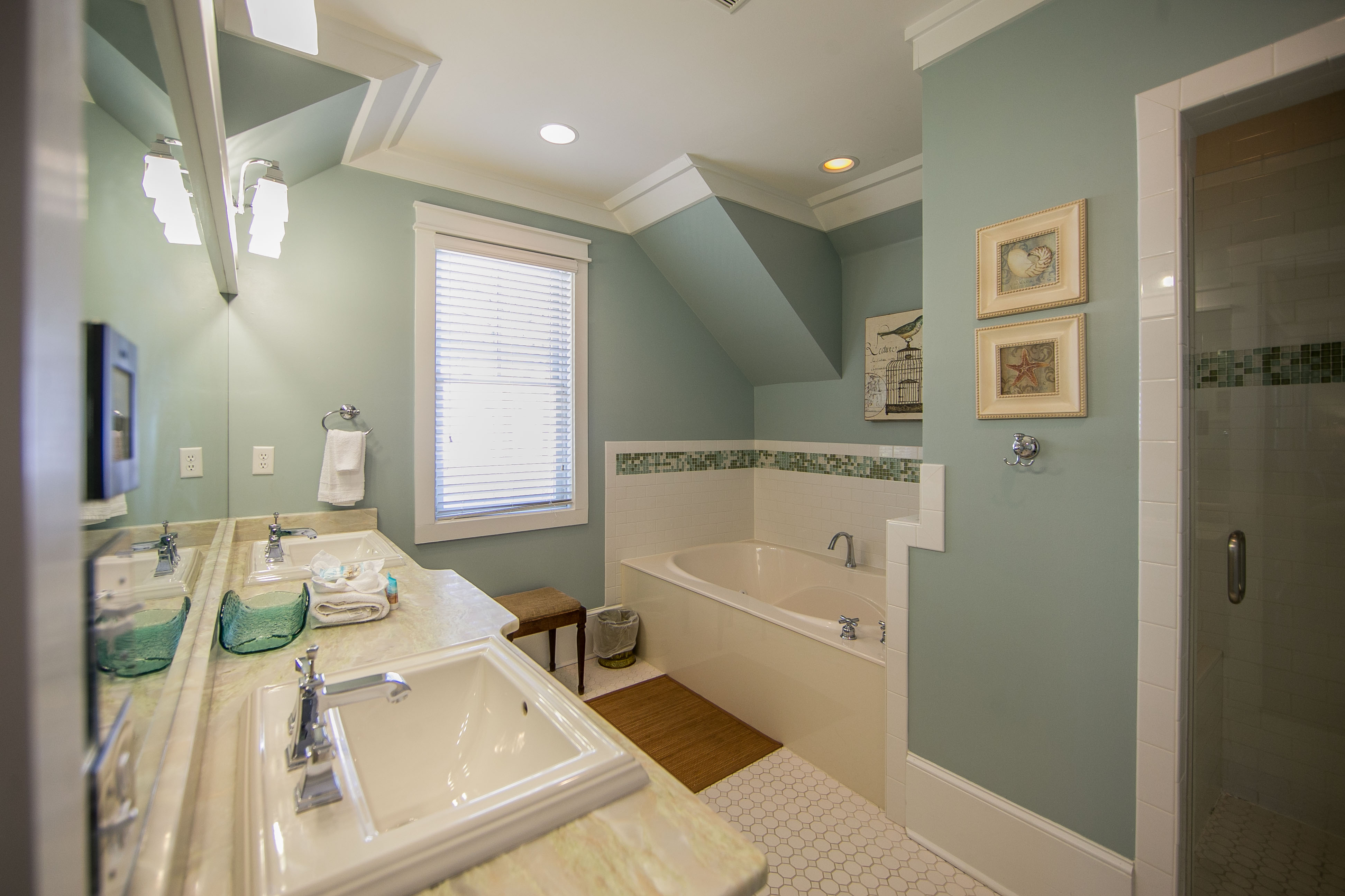 King Master ensuite bathroom with separate water closet, soaking tub and walk-in shower