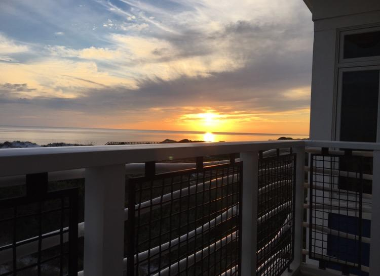 Enjoy beautiful sunsets from the balcony off the living/dining area