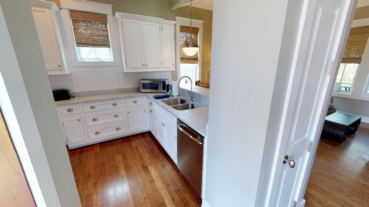 Beautiful white kitchen with Keurig Coffee Maker and Ninja Blender