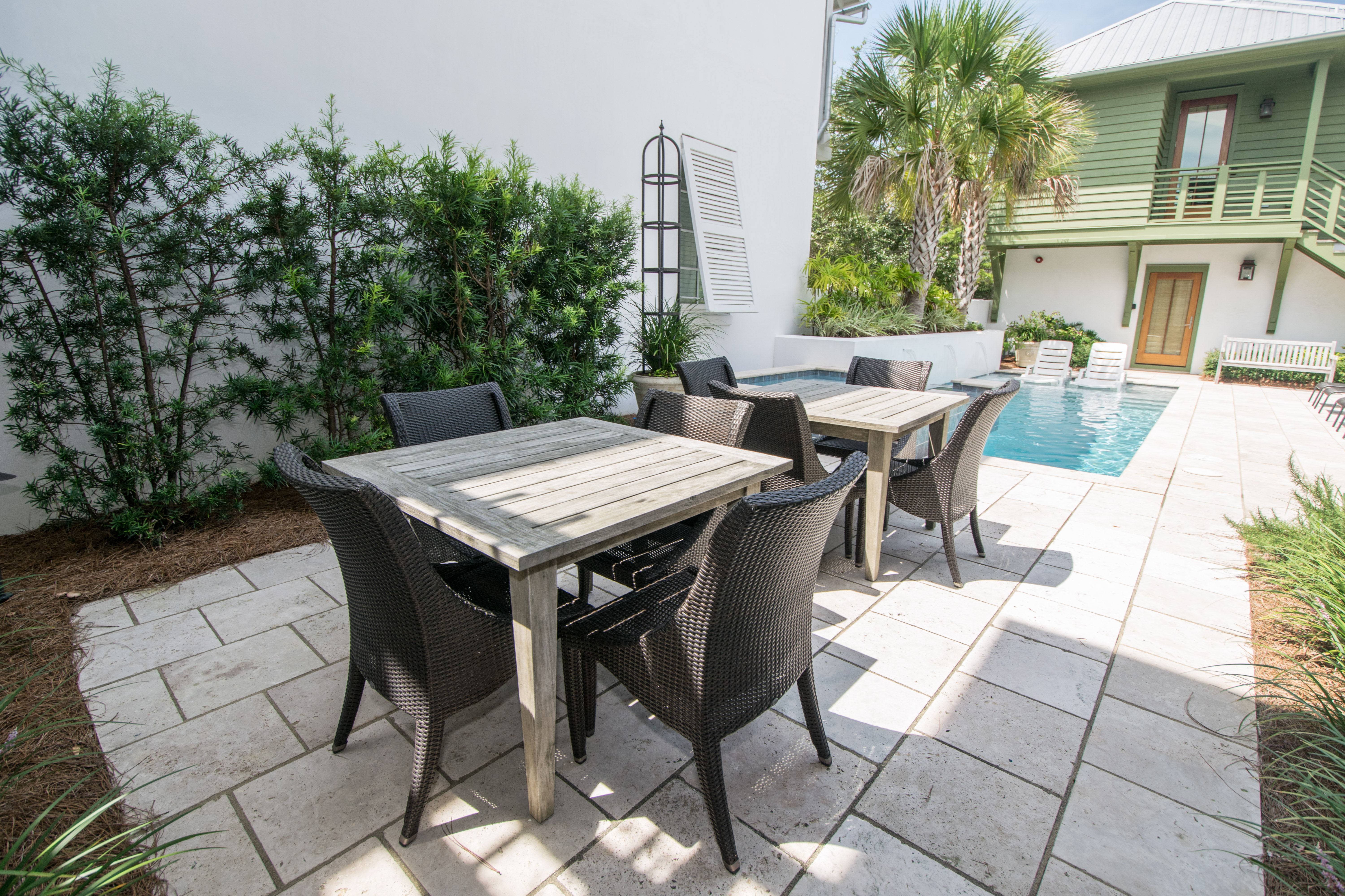 Outside dining by the pool for up to 8 people