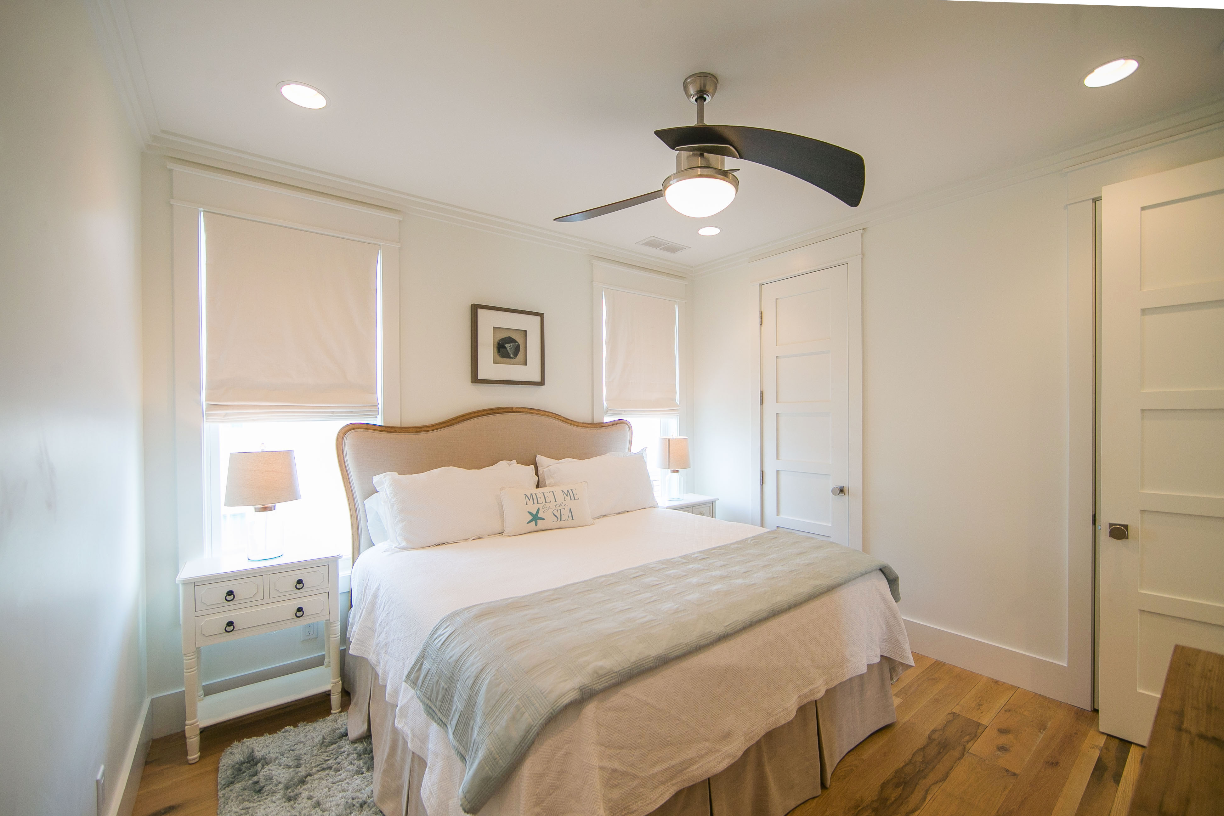 Guest bedroom 3 is located on the 2nd floor and continues the serene, blue and creamy white color palette.  It has a comfortable a king sized bed and ensuite bath.
