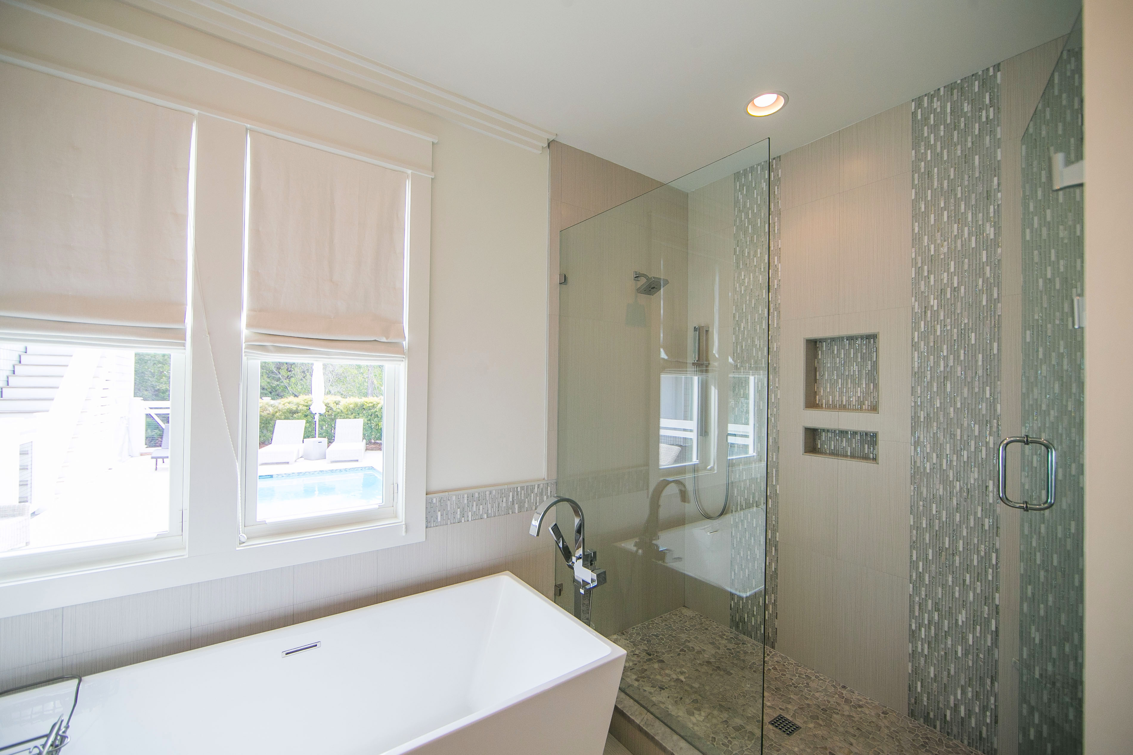 The master bath also has a large shower with beautiful custom tile work.