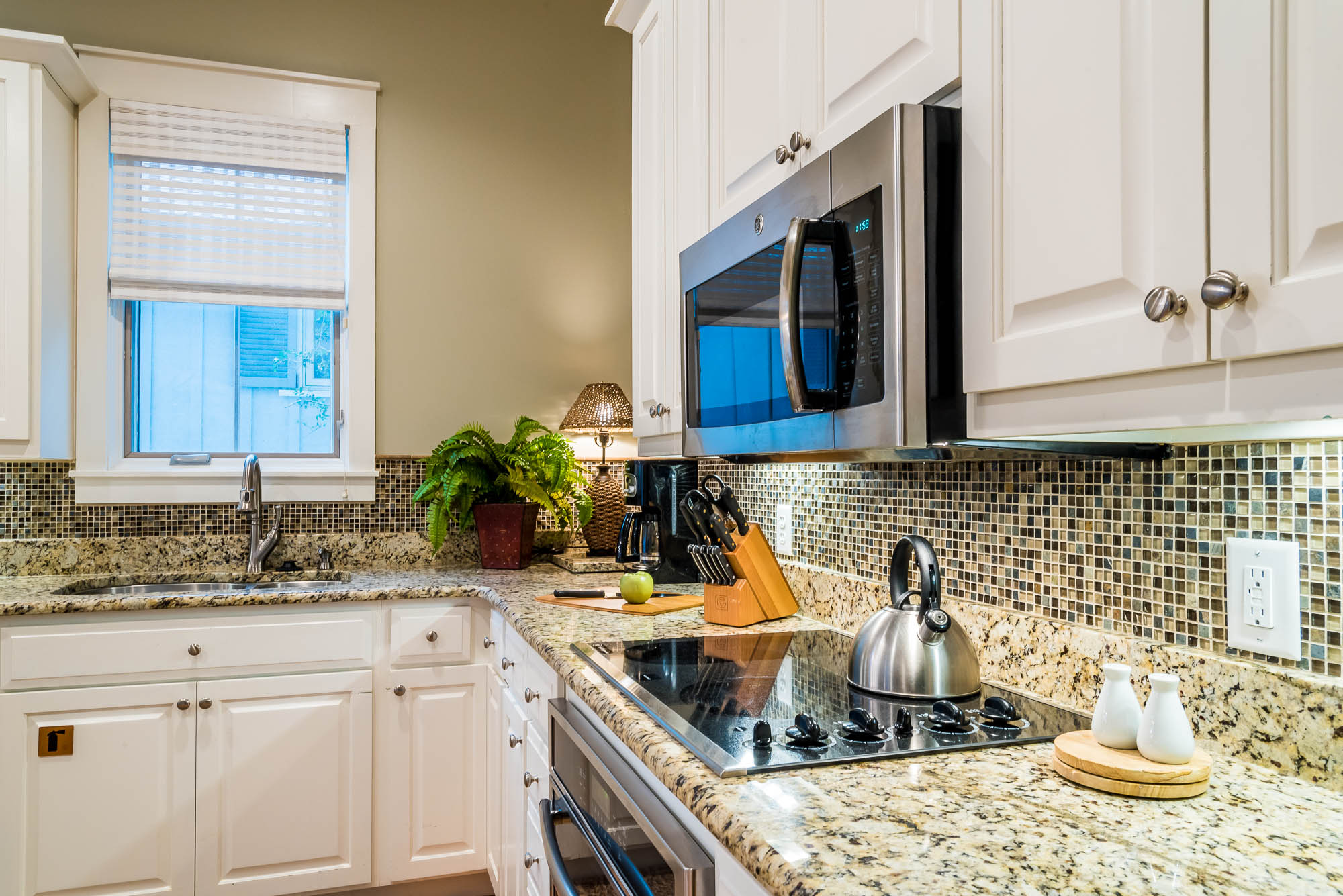 Gorgeous, granite counters in the open kitchen