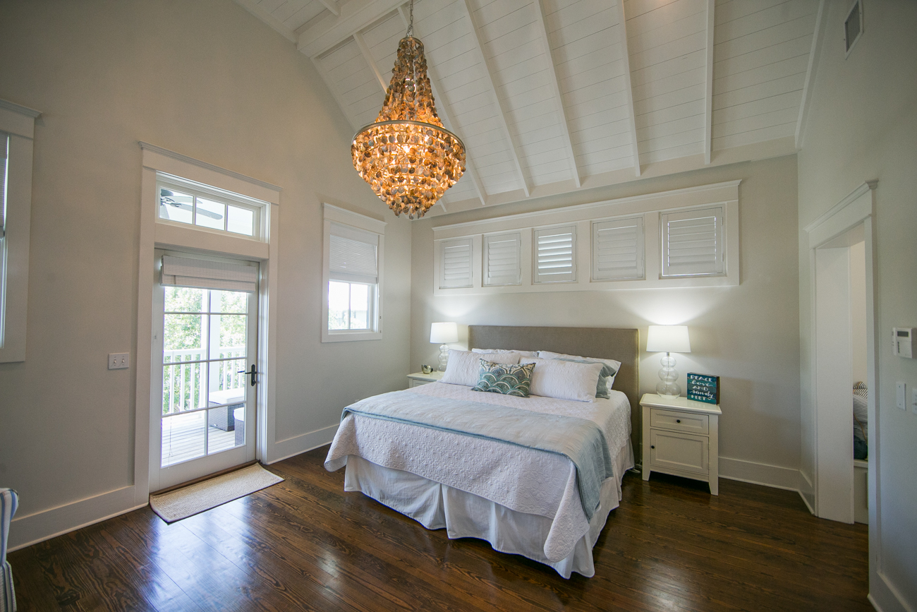Spacious Master Bedroom with Vaulted Ceilings and Private Outdoor porch