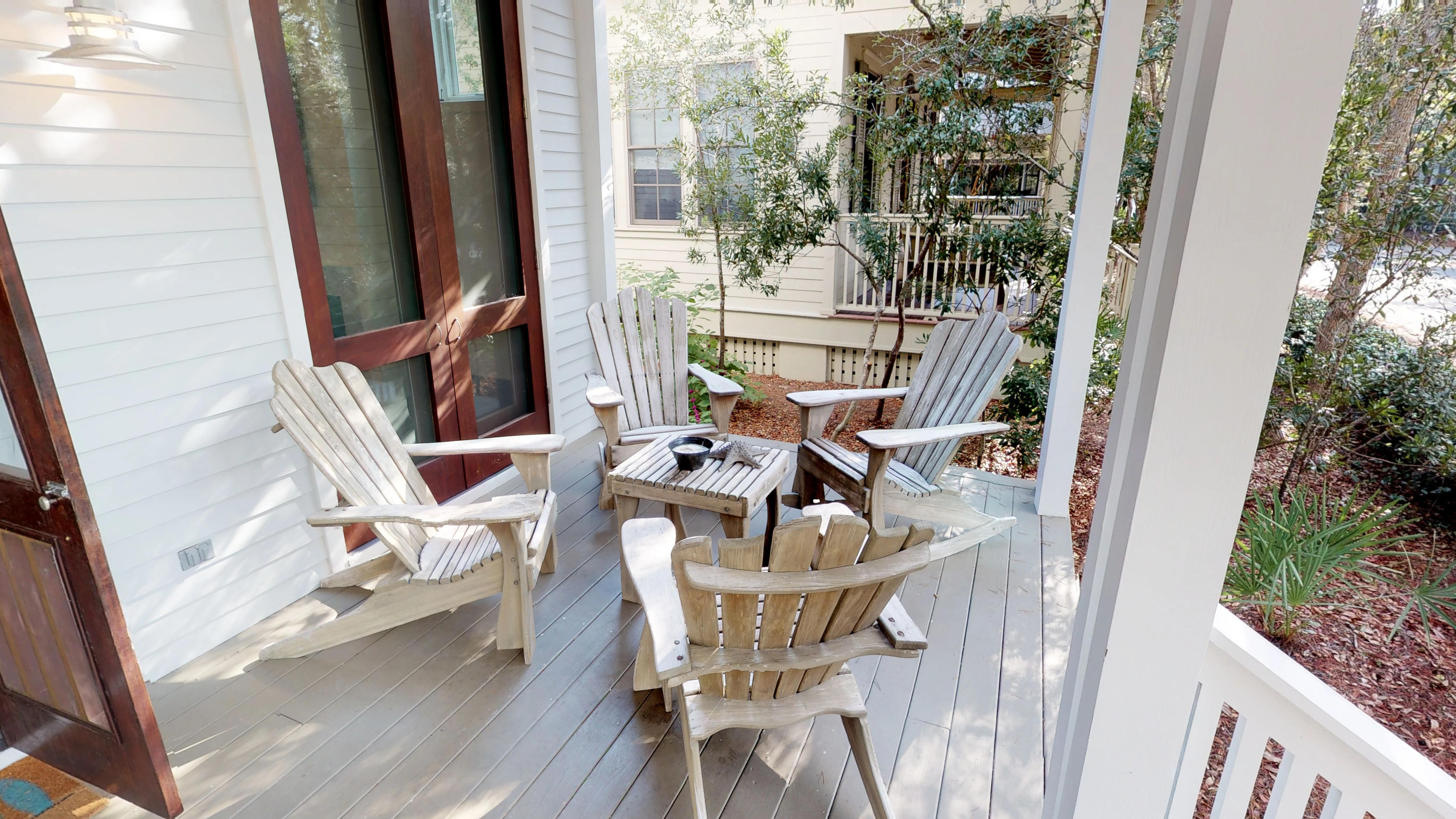 Conversational seating on the front porch