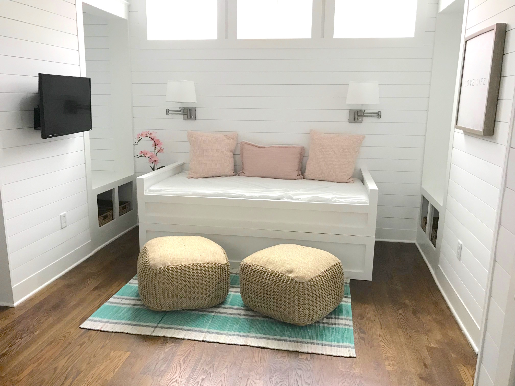 Newly built in bed at the top of the stairs