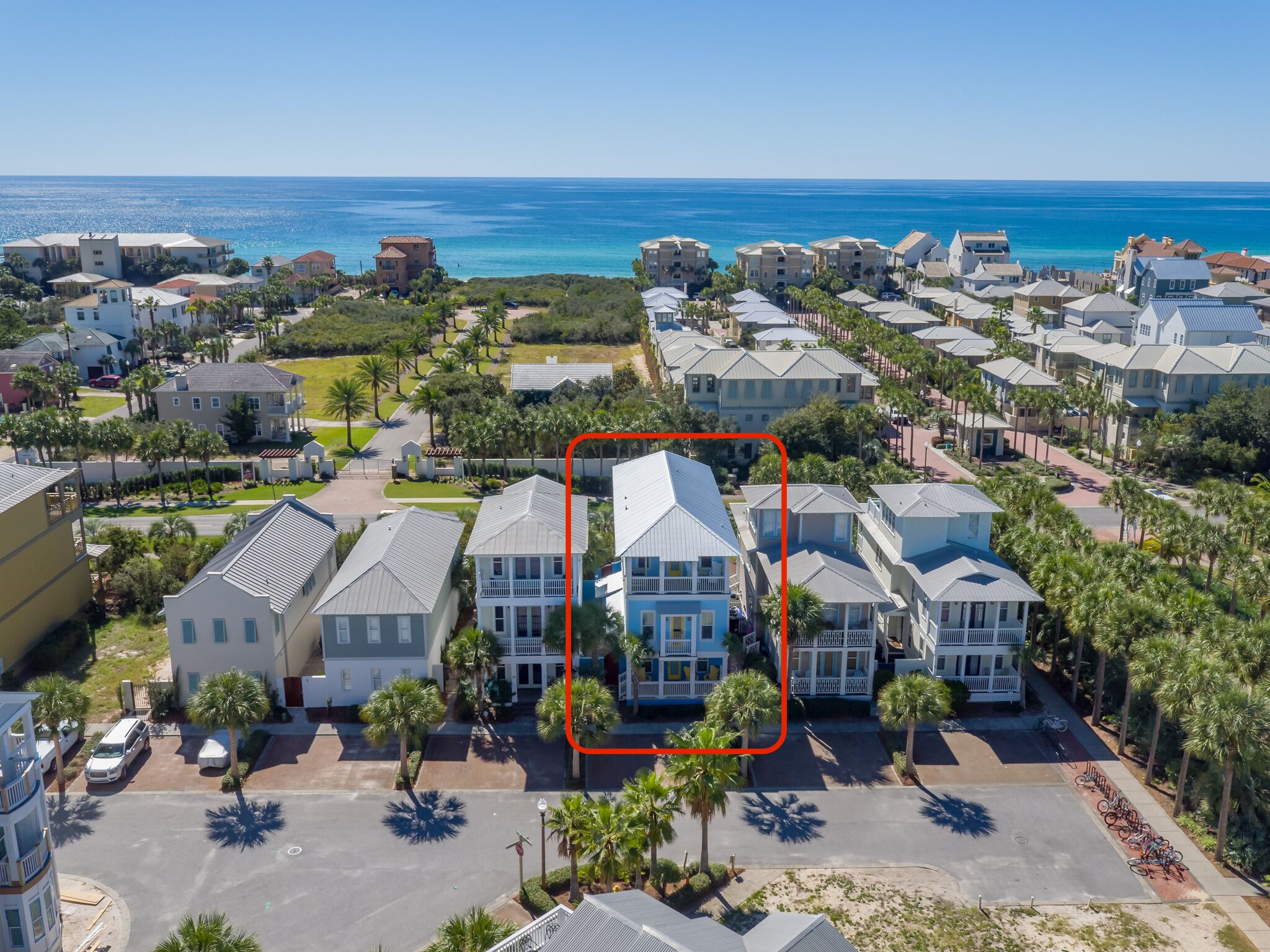 The tallest house on East Trigger Trail, DREAMS COME BLUE with the proximity this house is to the Emerald Waters of the Gulf!