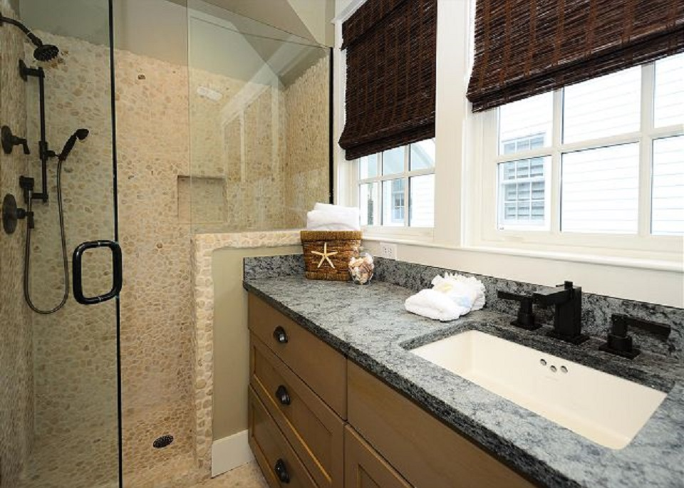 Beautiful Sun-Filled Spacious Bathroom with Large River-Rock Shower