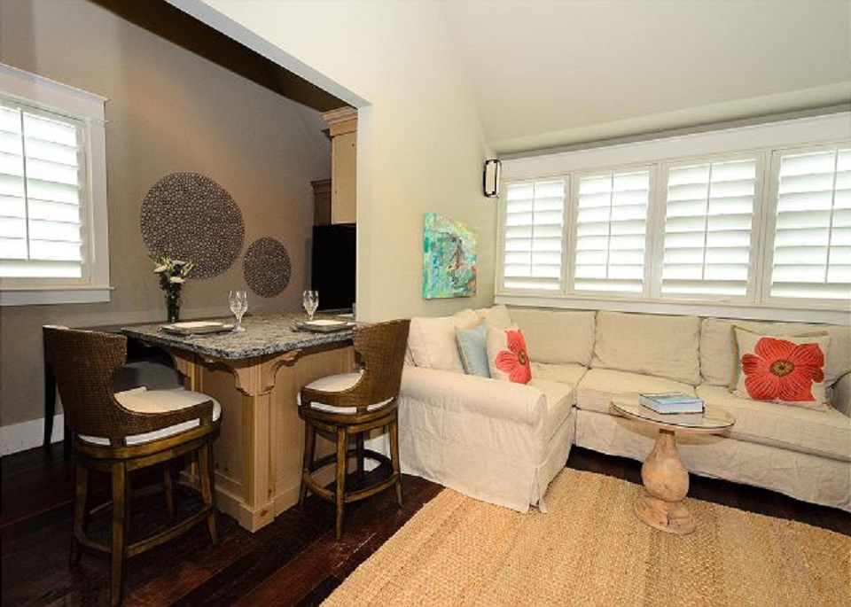 Comfortable Seating Area to Gather or Watch TV Plus Counter Seating off of the Kitchenette