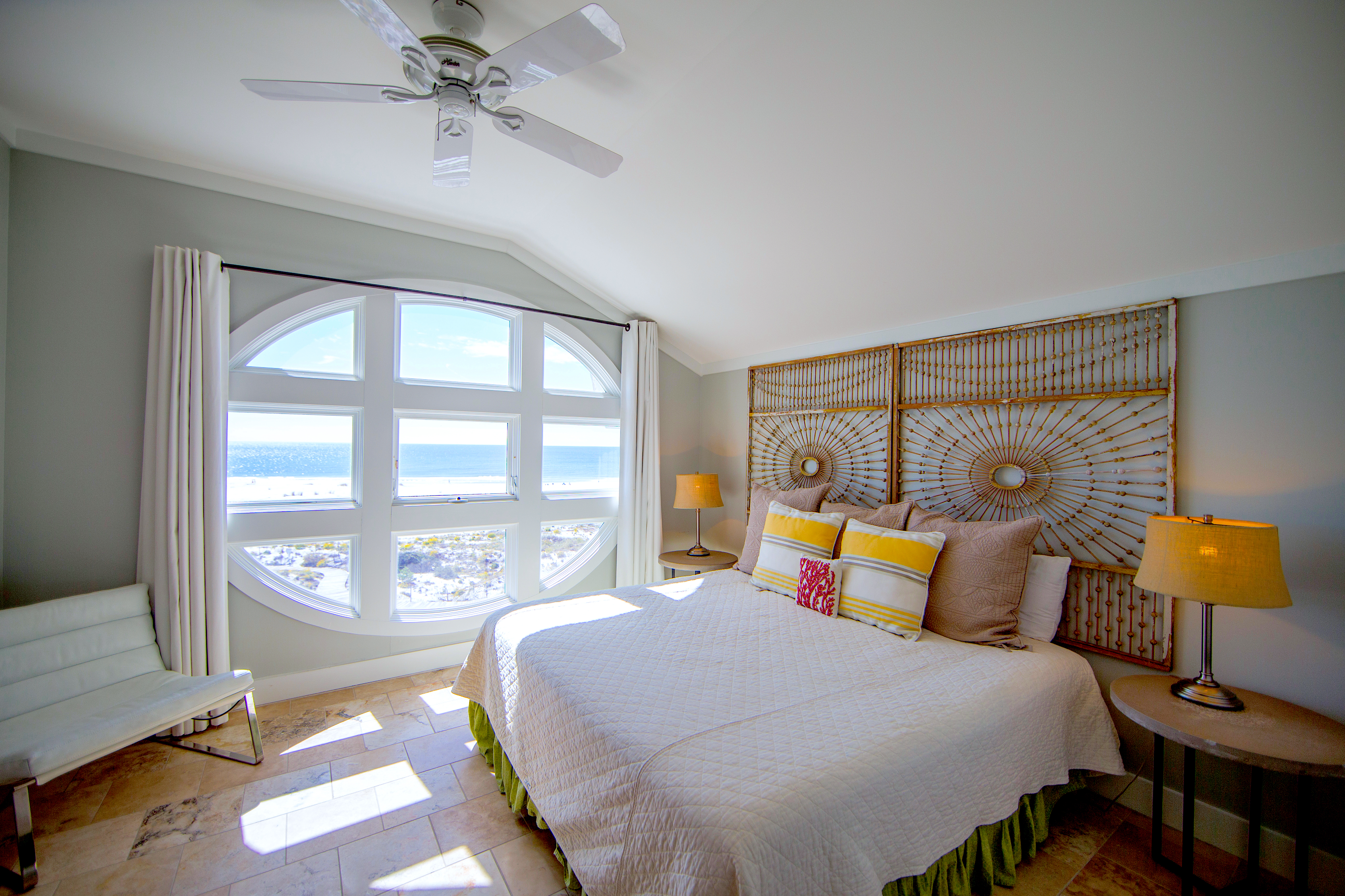 Beautiful gulf views can be seen from this king sized guest bedroom.