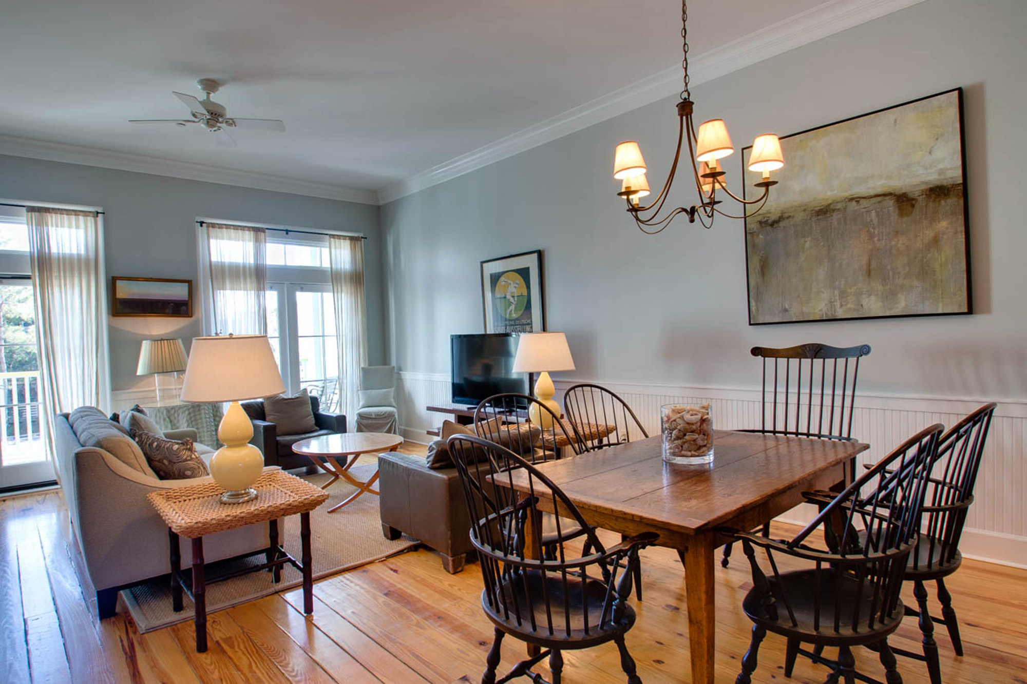 Open concept living and dining area.