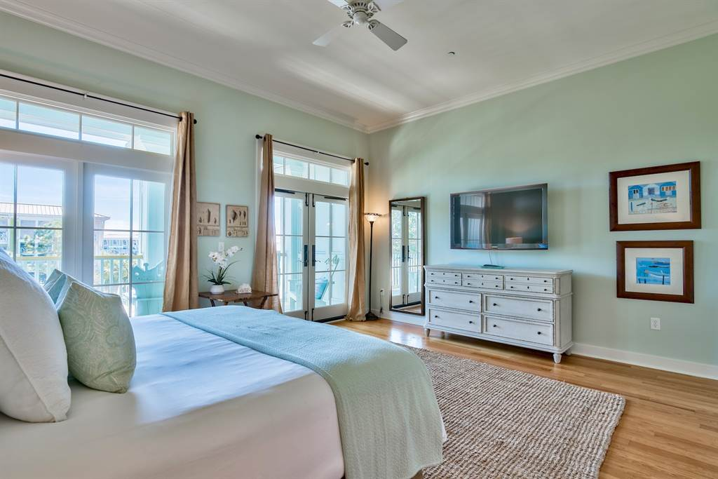 The master bedroom has a private balcony with gulf views!