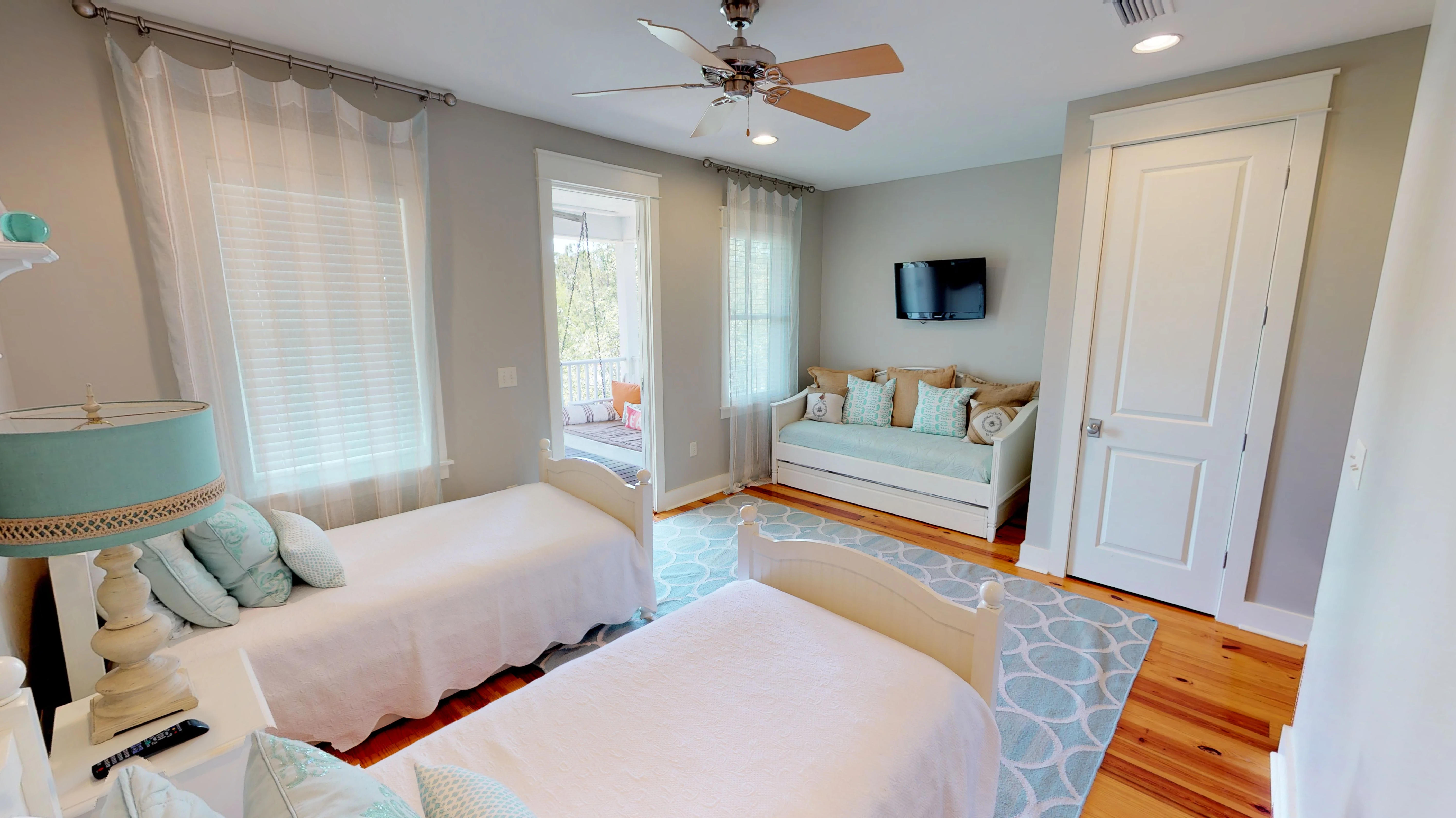 Sleeping for five to six in this guest bedroom with direct access to the porch