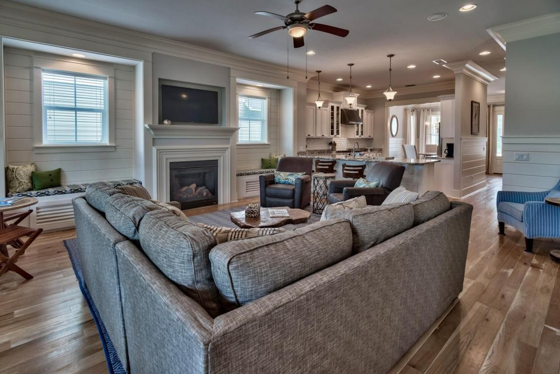 Perfect living area for large family with comfortable TV viewing from any seat in the home