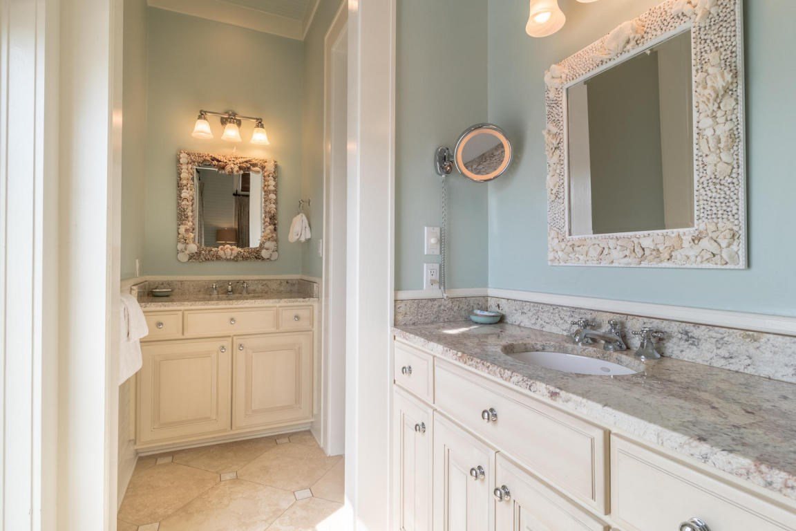 Master bath with two separate vanity areas