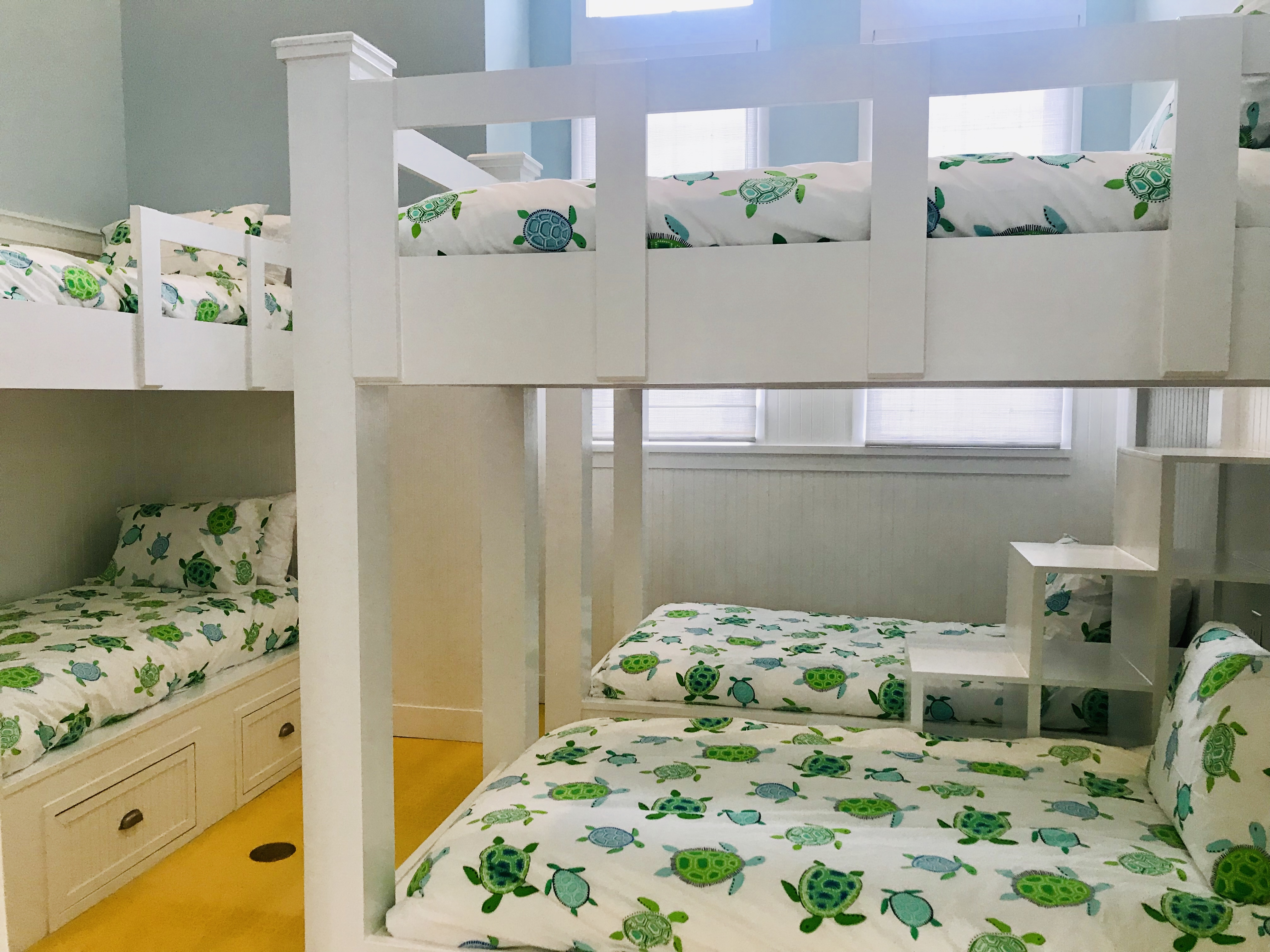 The bunk room has recently been added and features 3 sets of custom made bunk beds.