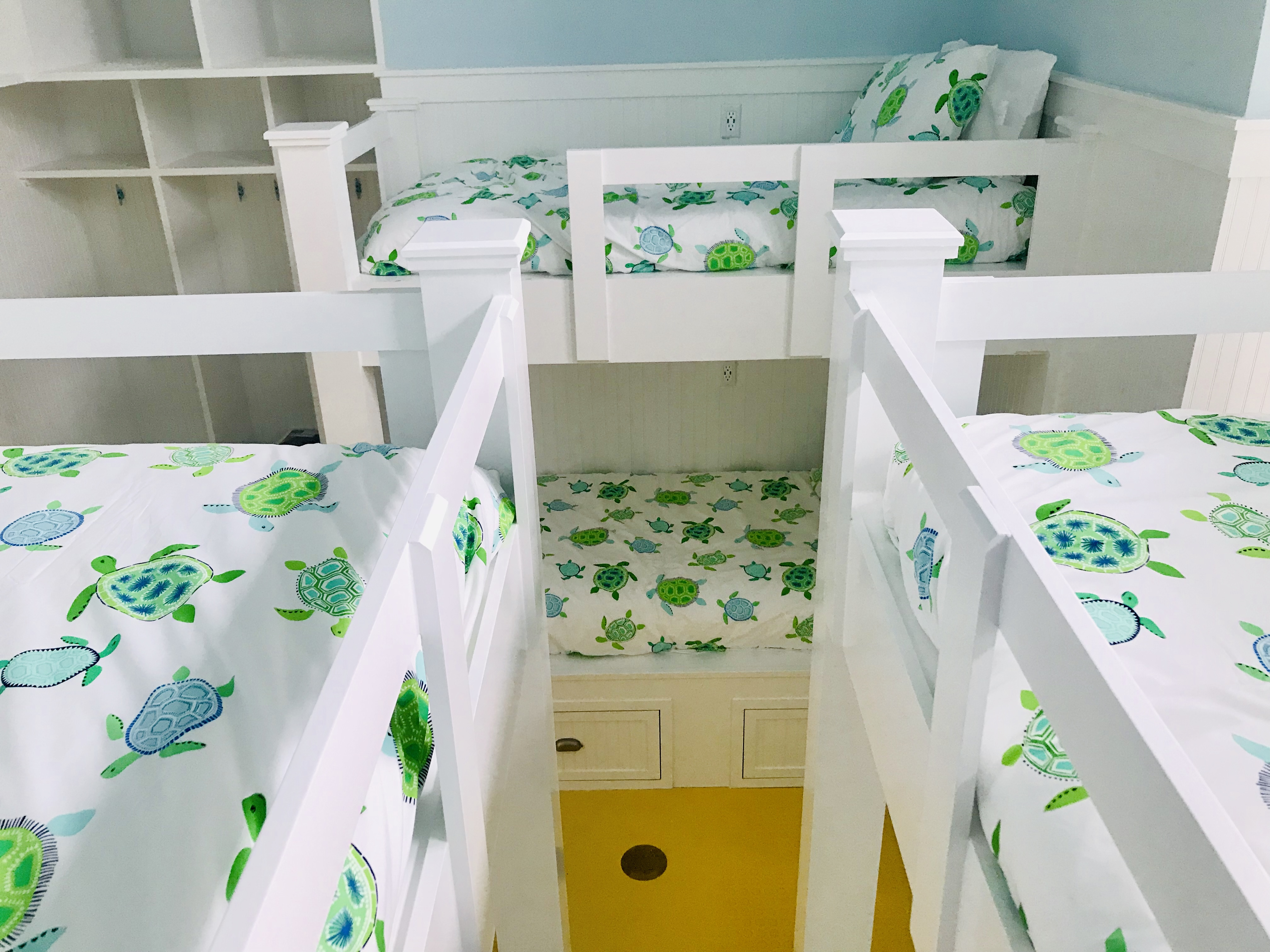 There is plenty of space for everyone and even cubbies where they can hang their clothes.