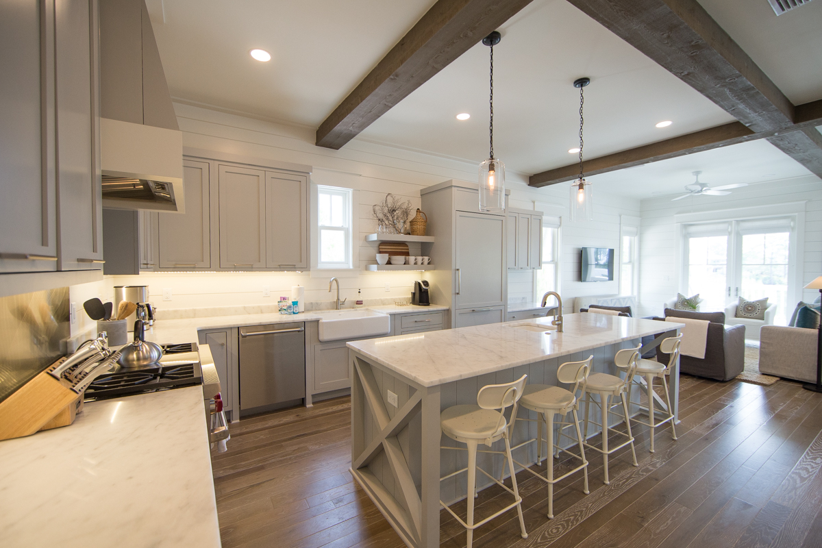 Barstools add additional seating area for family meals