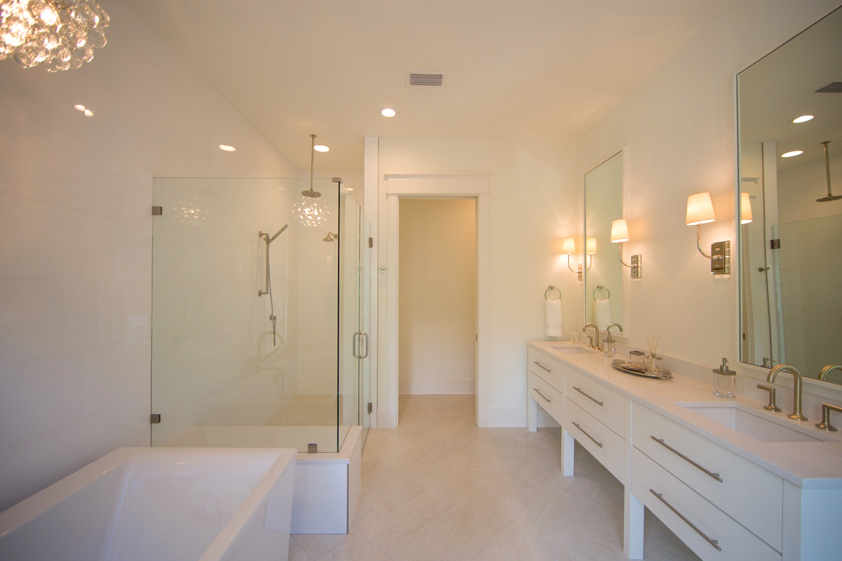 The master bath also has a double vanity for plenty of room