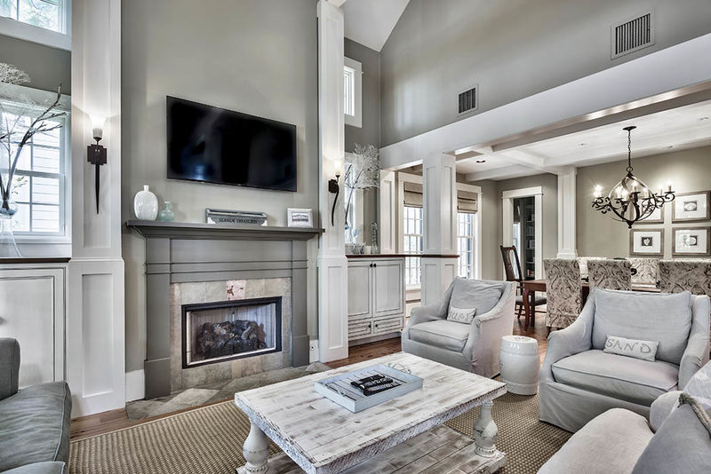 The living area features a gas fireplace