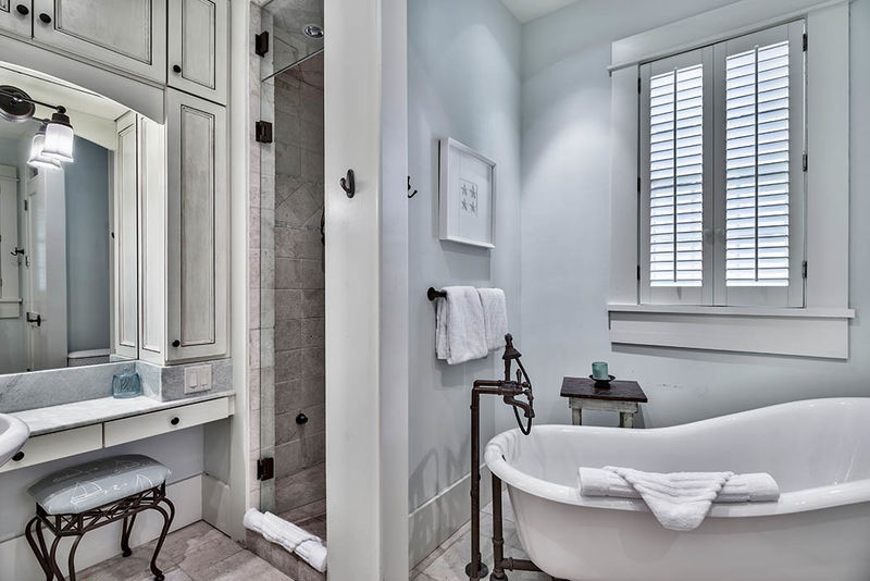 The master also has a soaking tub and separate shower