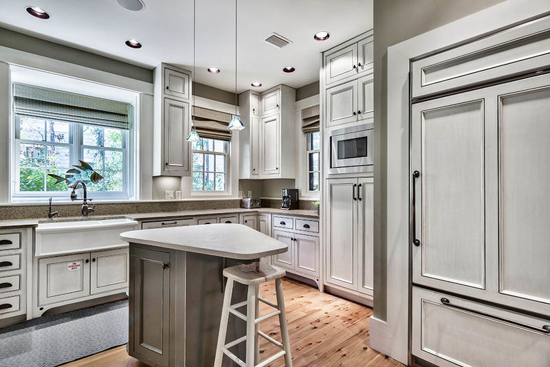 There is plenty of counter space in the custom kitchen, which also features a beautiful, farm house sink