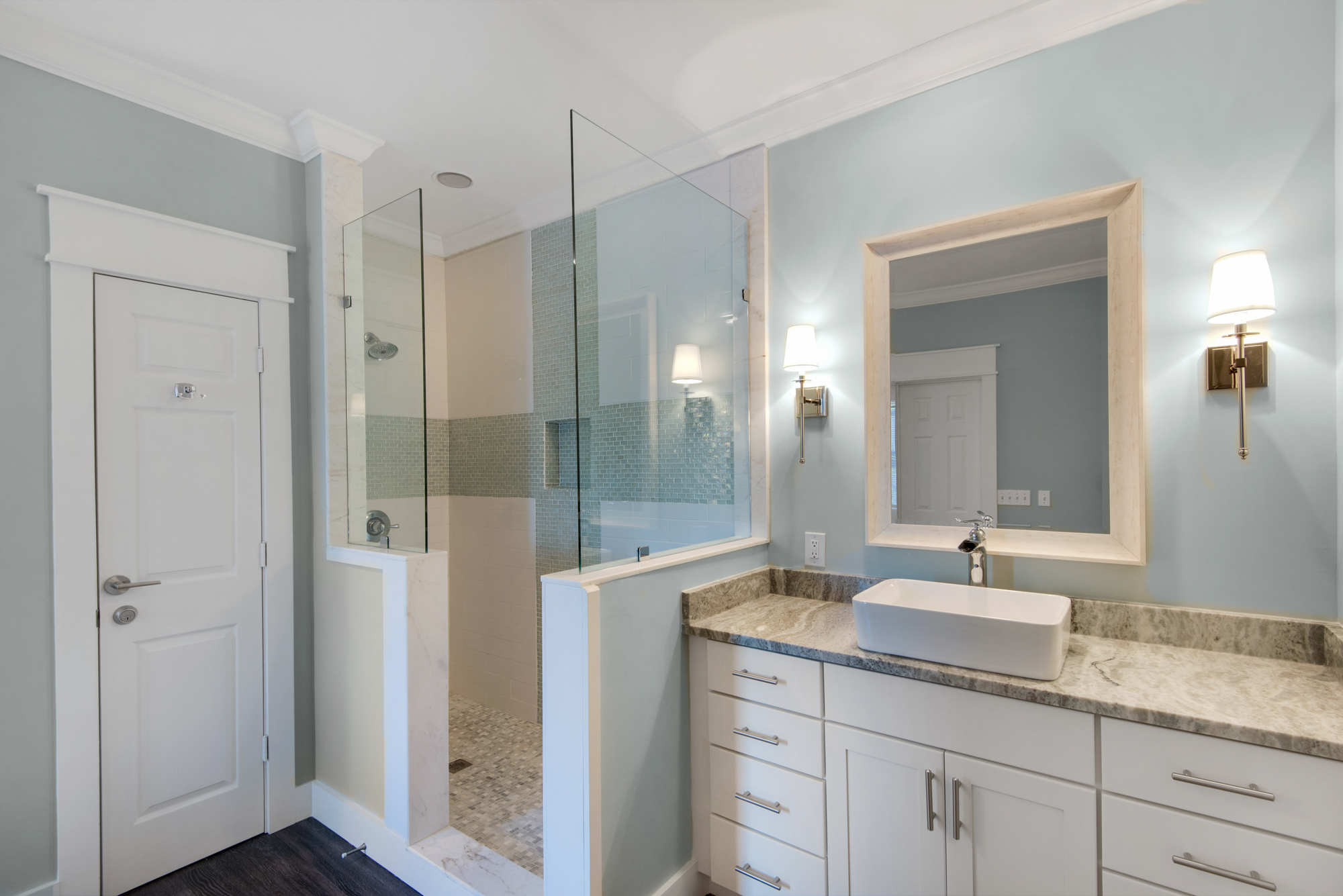 Private Master Bath with Glass Door Walk In Shower
