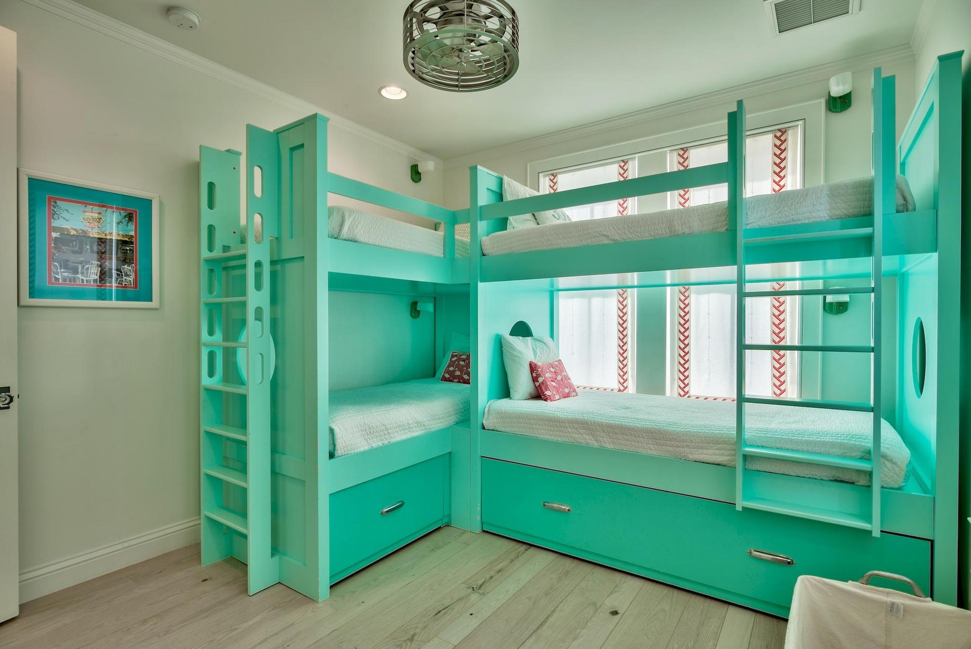 Bunk room two with custom built bunks beds