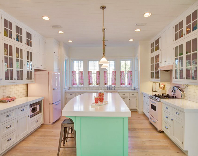 Fantastic kitchen featuring vintage style, pink appliances