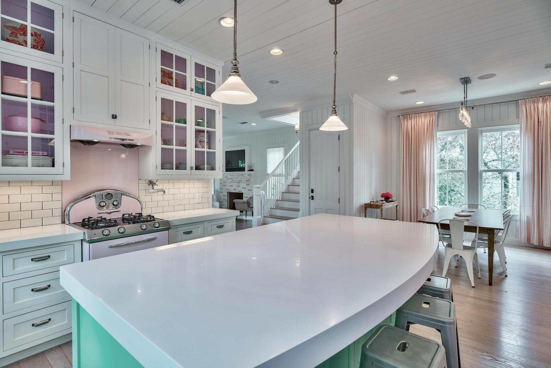 Gorgeous quartz counters are featured in the kitchen