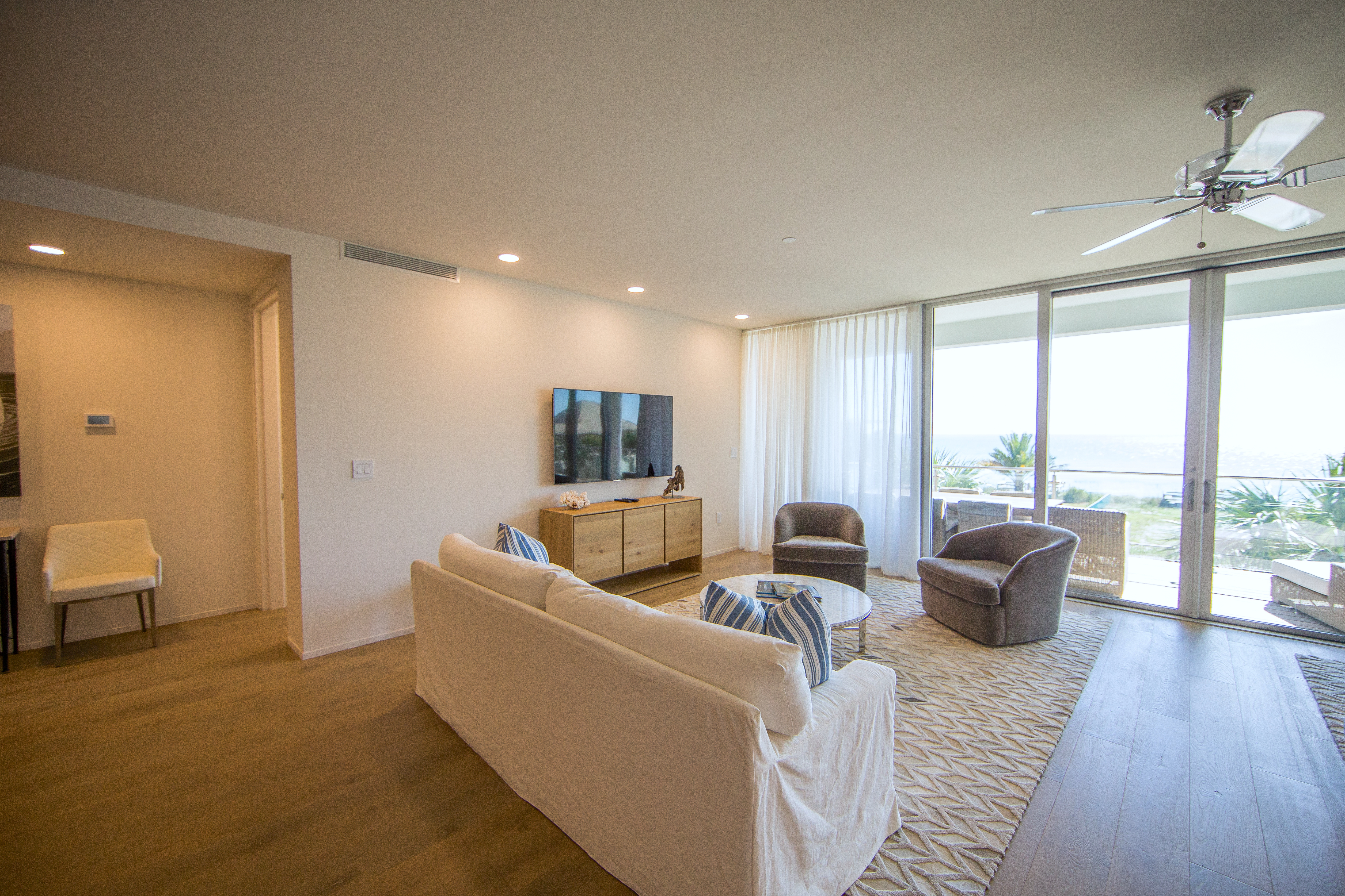 Comfortable seating is featured in the living space