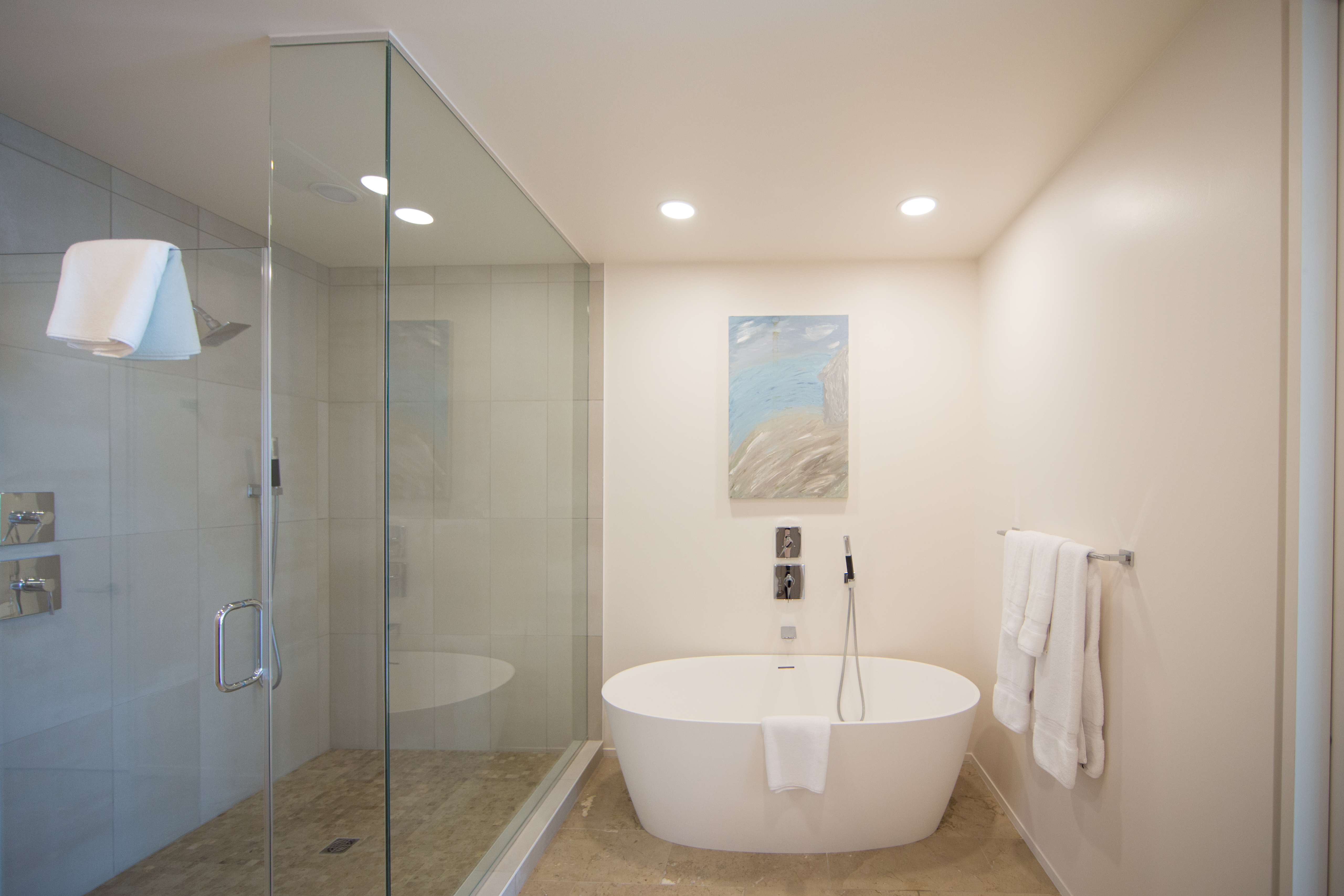 Gorgeous soaking tub and glass shower