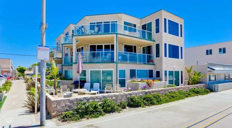 Mission Beach Oceanfront vacation home rental on the boardwalk