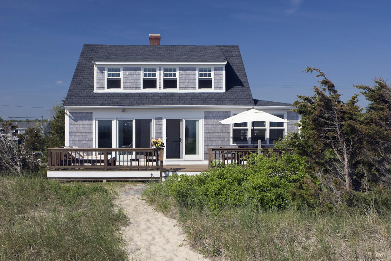 View of cottage from dunes