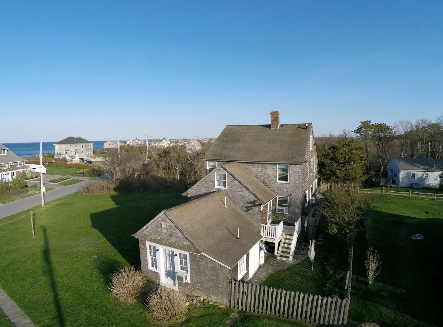 Aerial of house and ocean across street