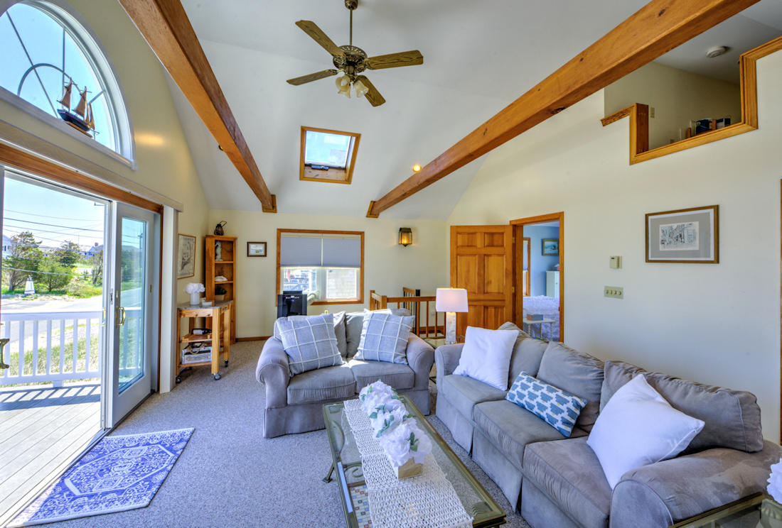 Living area opens to upper front deck