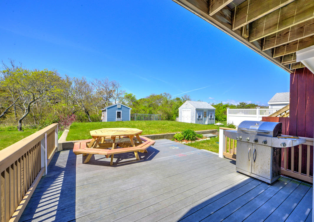 Table and grill on lower back deck