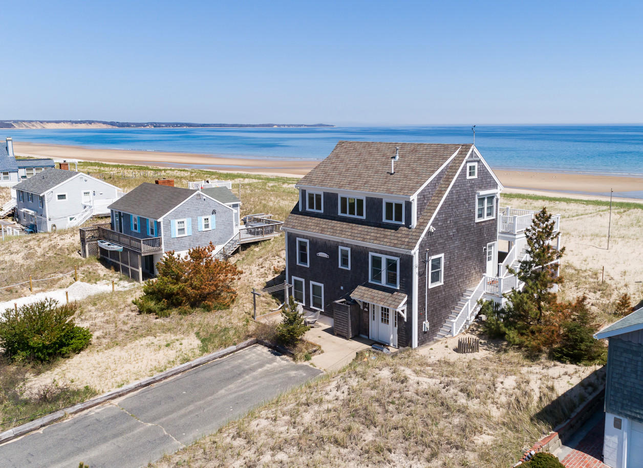 Aerial of house and beach