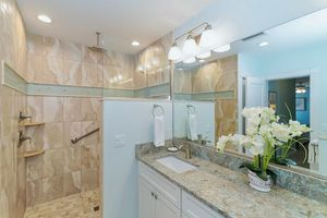 Master bathroom with walk-in shower.