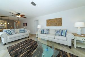 Living area with comfortable couches.