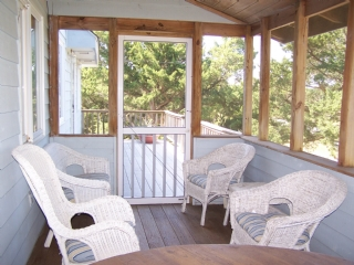 Screened Porch Kitchen and Front Porch
