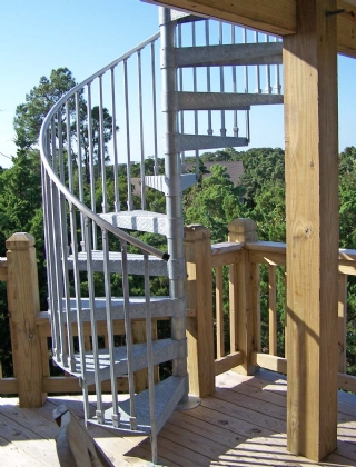Spiral Stairs to Rooftop Deck