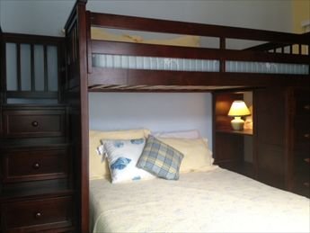Quality pyramid bed (full & single) incorporating steps (no ladder) & storage.
