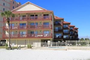 Southern Sands from the beach. Gulf front unit 305 is on the third floor, on the right