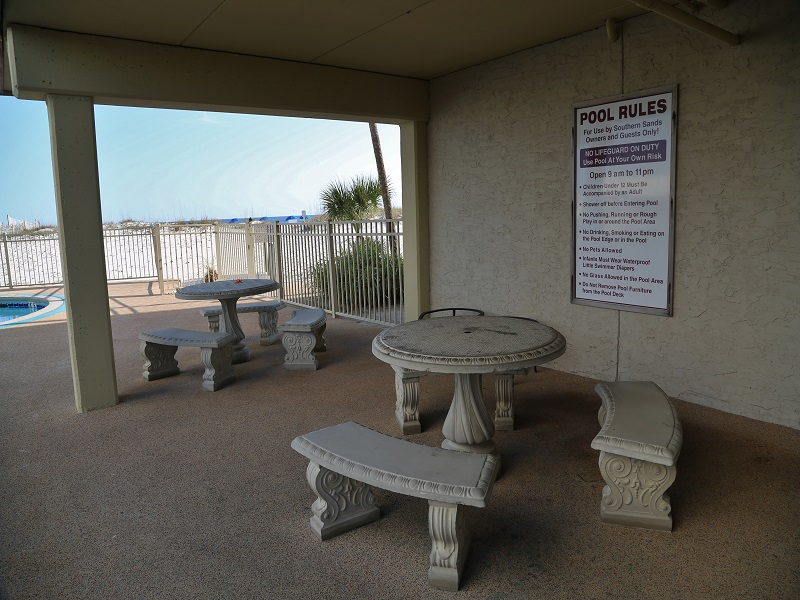 Seating area at pool