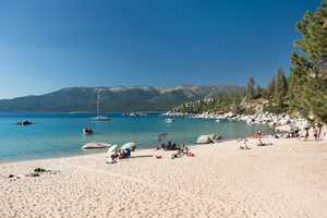 Lake Tahoe beach just a short drive away