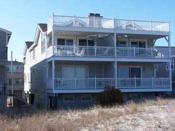 front exterior of this beachfront townhome