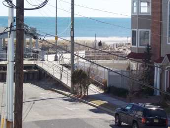 view of beach from porch